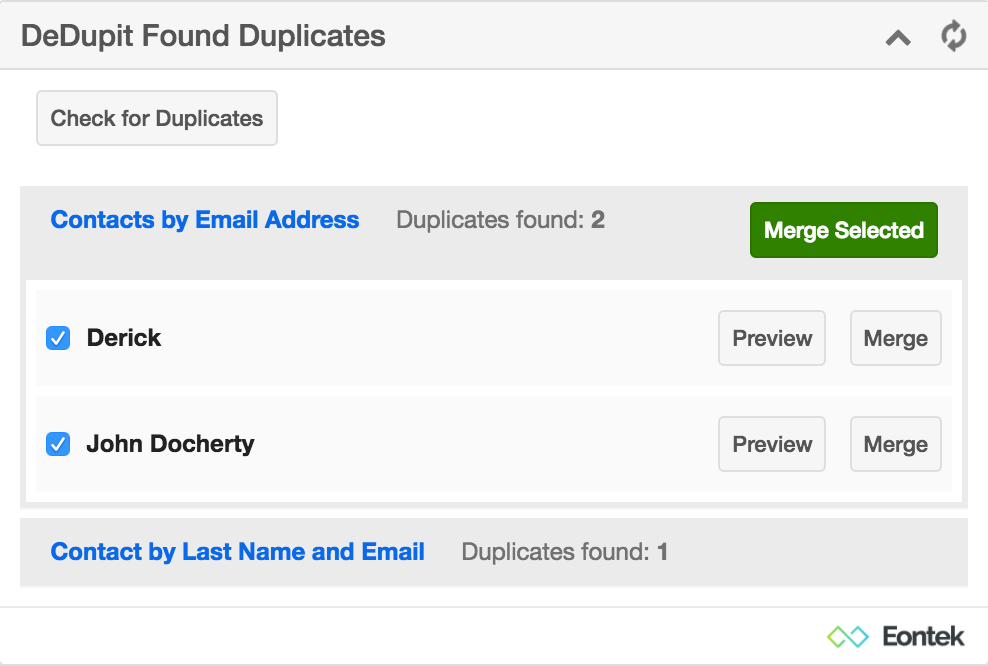 DeDupit Detected Duplicates Dashlet