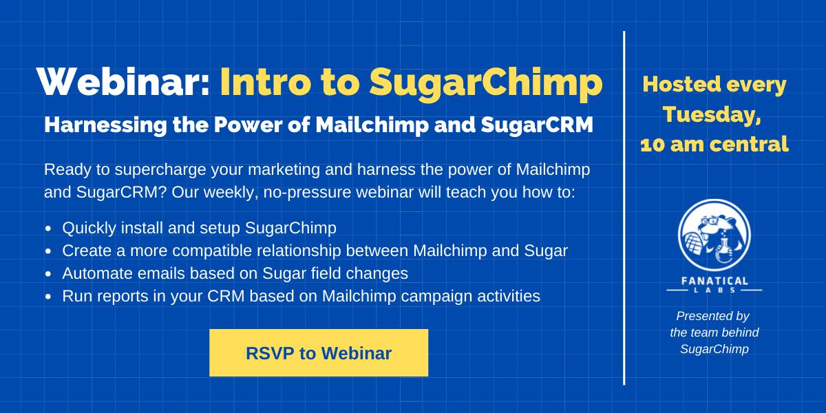 Webinar call information for SugarChimp