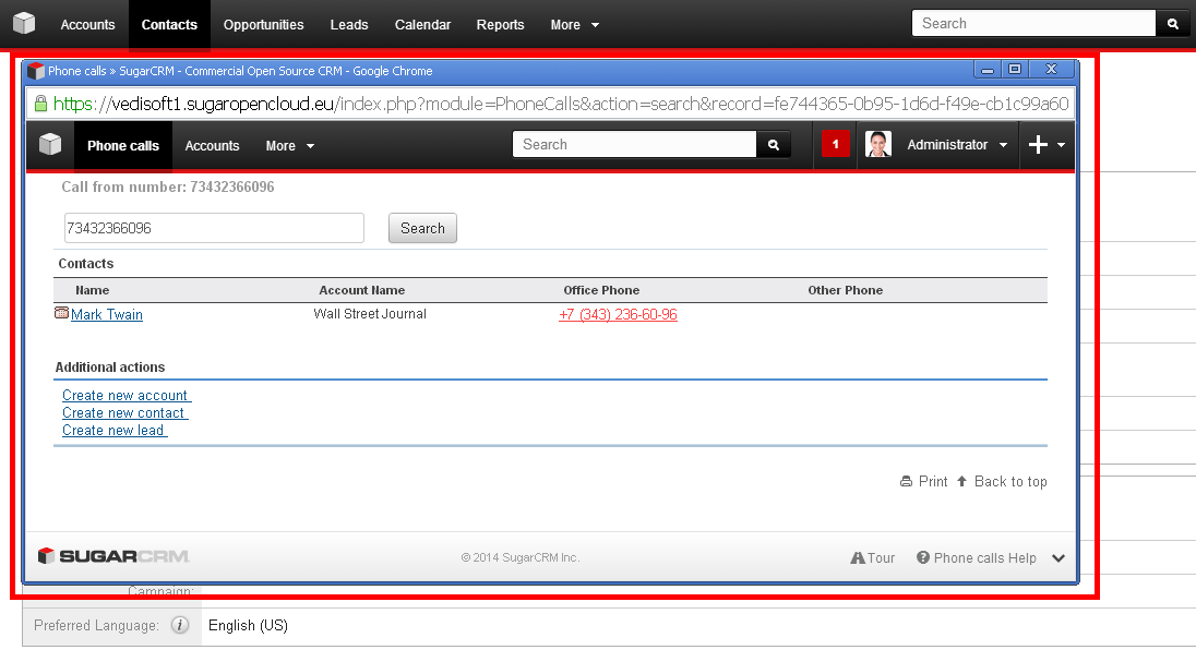 SugarCRM CTI call popup