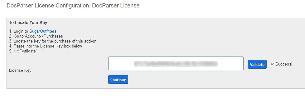 Provide license key & validate