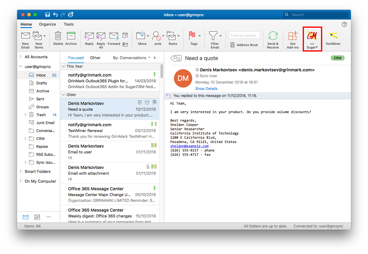 Outlook 2016 on MAC | Outlook 365 and Sugar Integration
