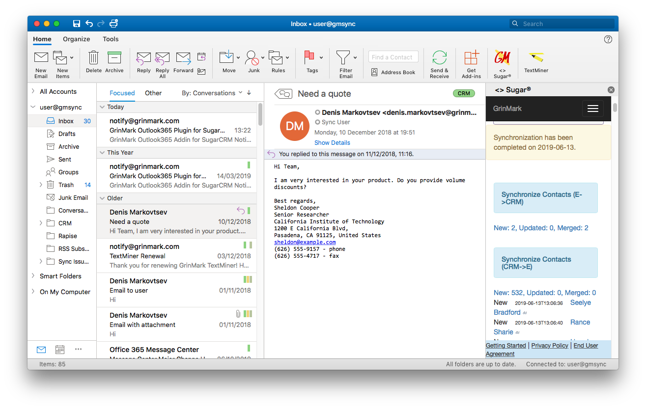 Outlook Mac Contacts Sync Completed