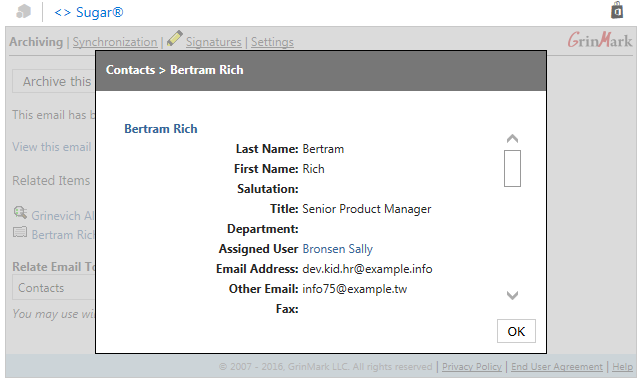 Preview CRM Item