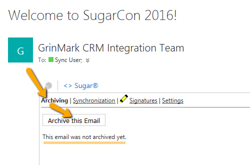 Outlook archive email to SugarCRM