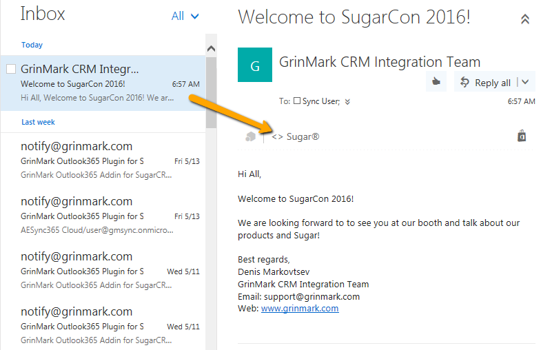 Sugar and Outlook Email Integration