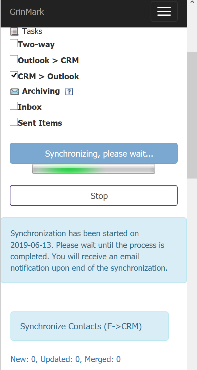 Synchronizing Items in Outlook - GrinMark Outlook 365 Plugin