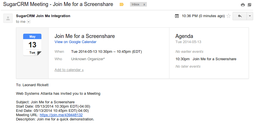 Join Me Meeting Integration Sugarcrm Module