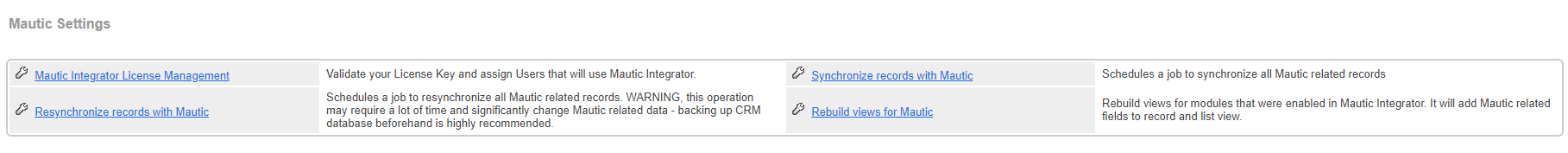 CRM - Administration - Mautic Settings Panel.png
