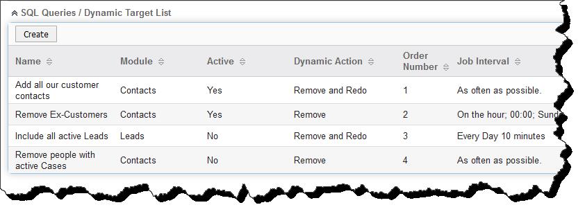 Dynamic Target List Queries