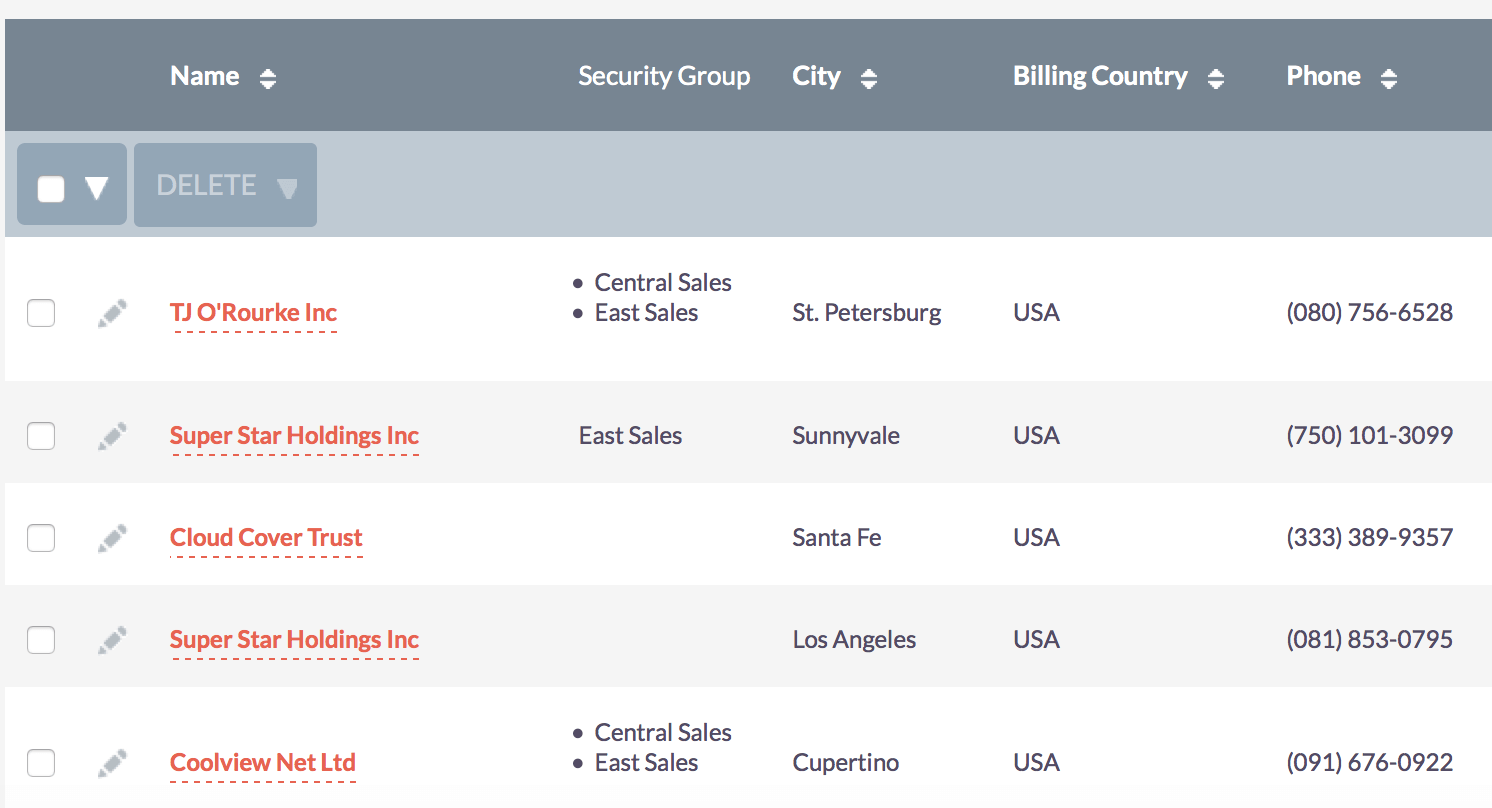 Security Groups on List View