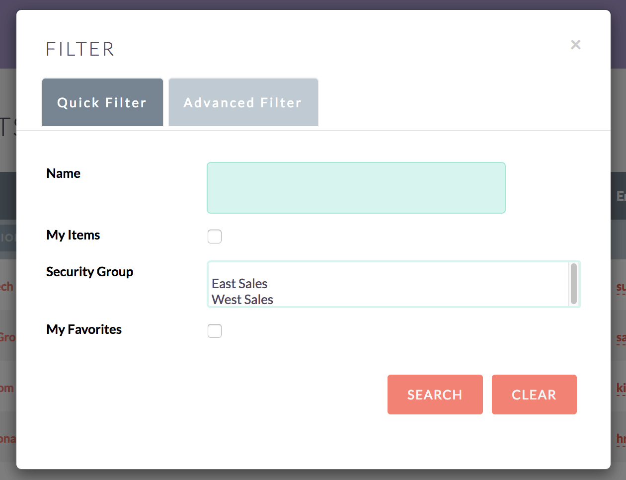 Filter Search by Groups