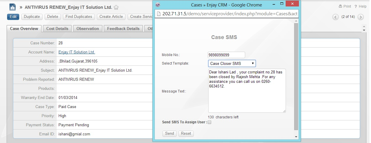 SugarCRM SMS popup