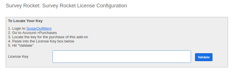 Survey Rocket: Enter License Key