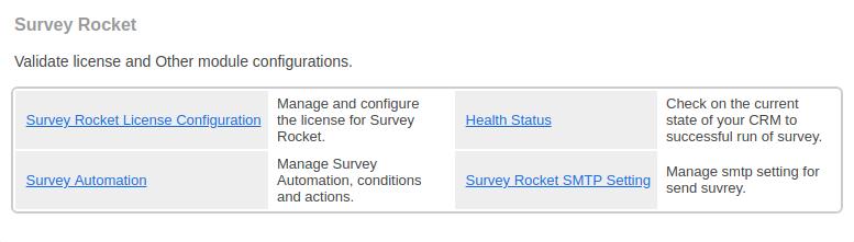 Survey Rocket: License Configuration Link