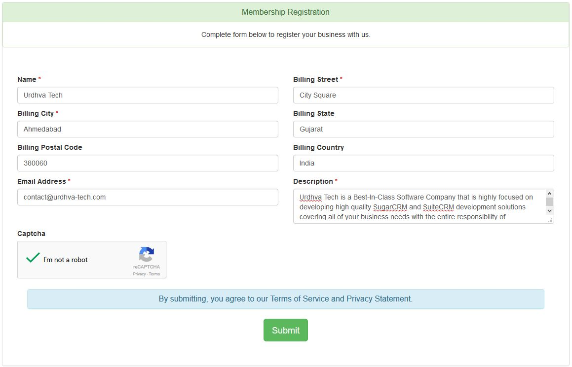 Custom webform for SugarCRM