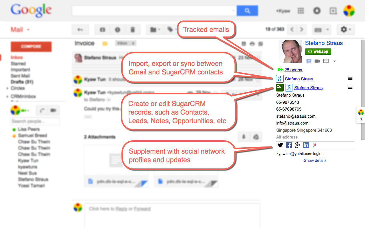 Gmail sidebar for SugarCRM