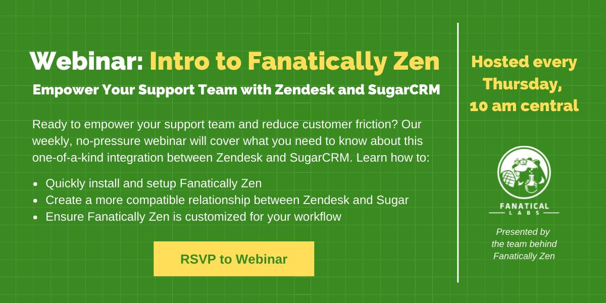 Webinar call information for Fanatically Zen