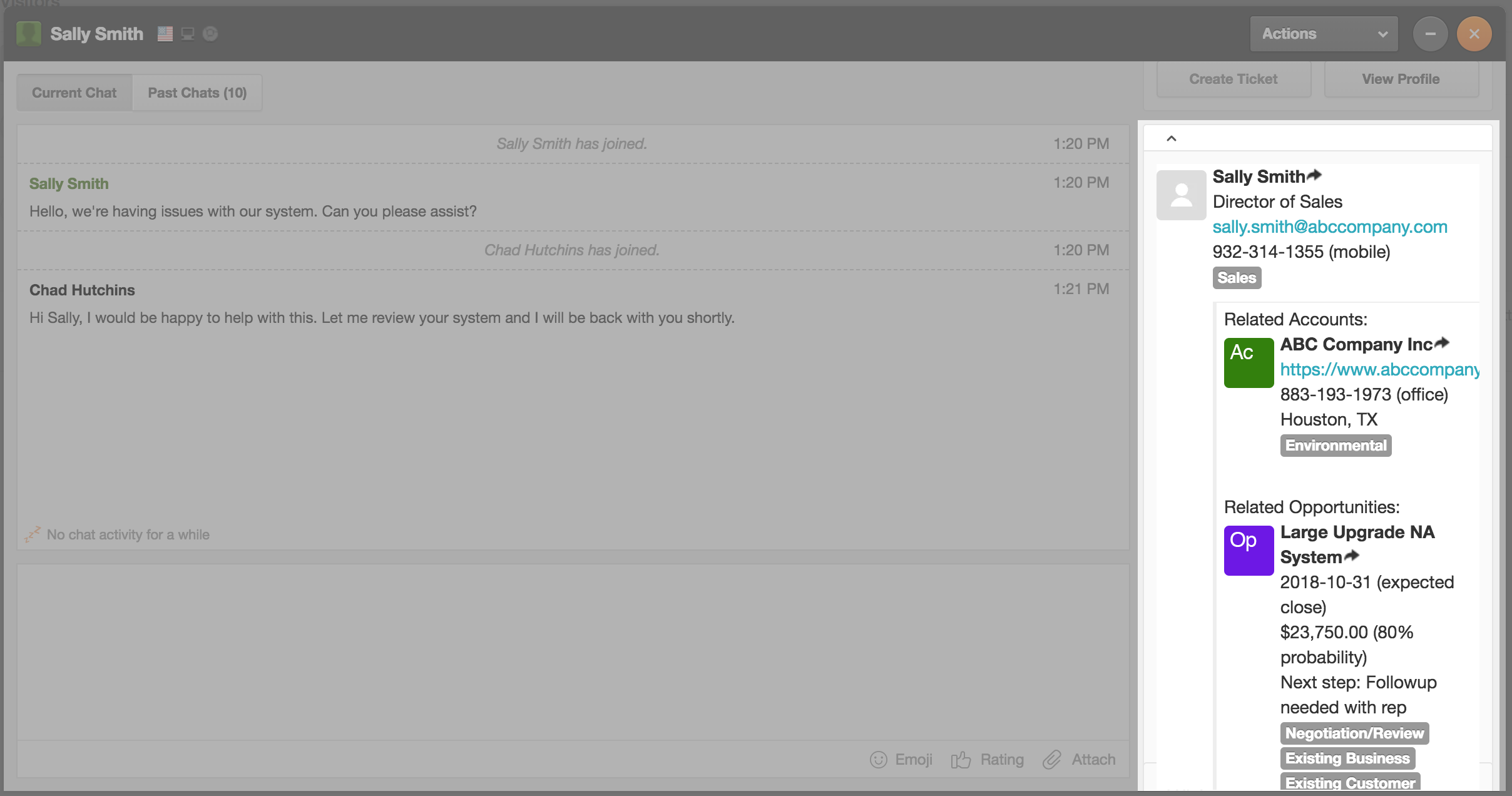 View Sugar Data Inside Zendesk Chat
