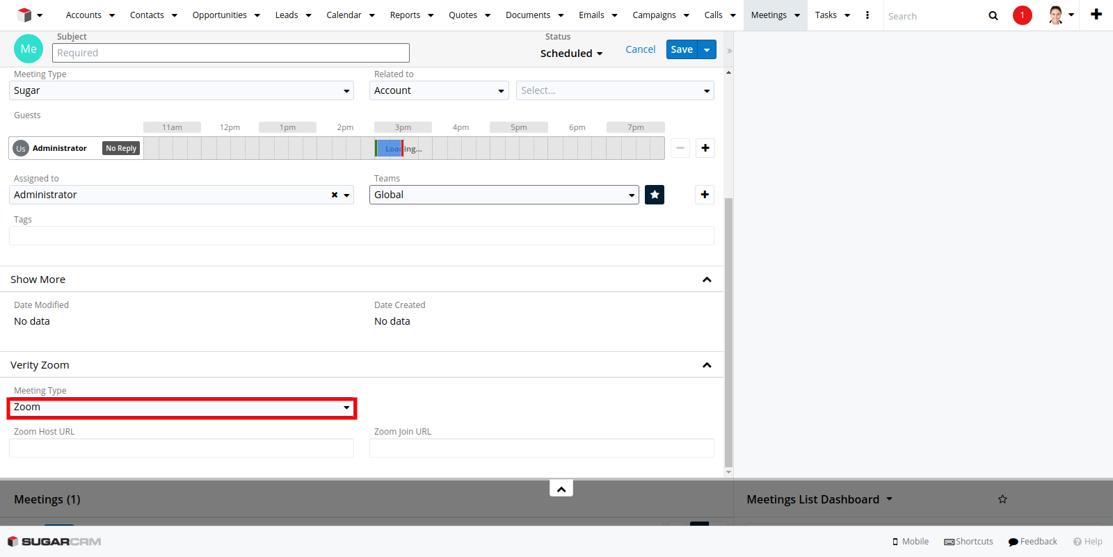 Zoom Integration for SugarCRM create meeting