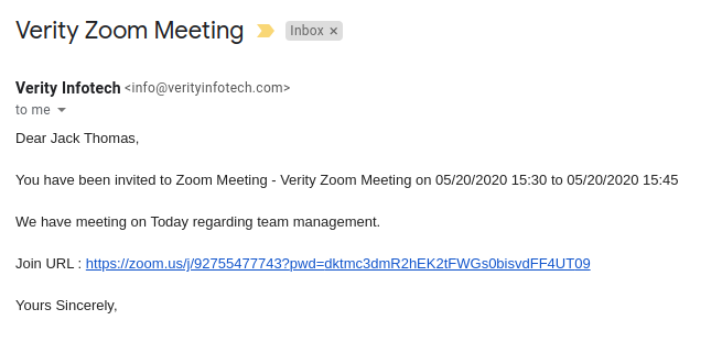 Zoom Integration for SugarCRM invitee email
