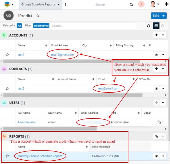 Advanced Report Exporter add-on for SugarCRM group schedule reports subpanels