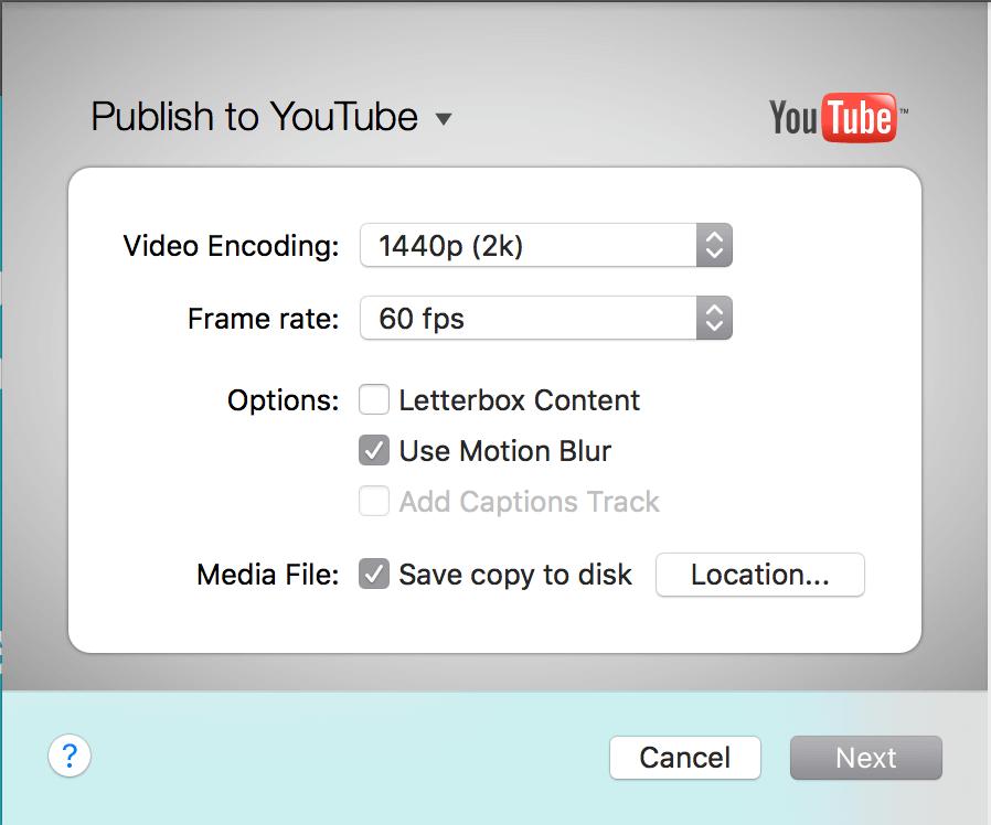 Publish to Youtube