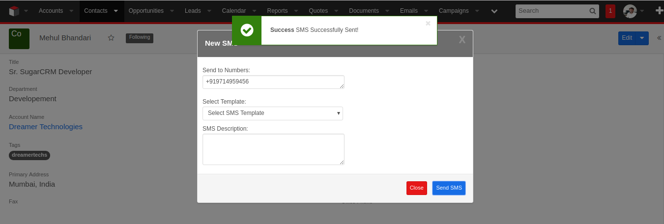 SMS Integration with SugarCRM
