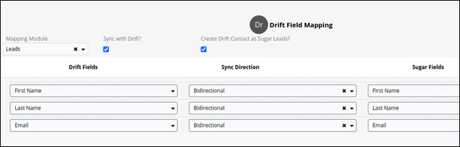Drift for Sugar Sell Integration Field Mapping