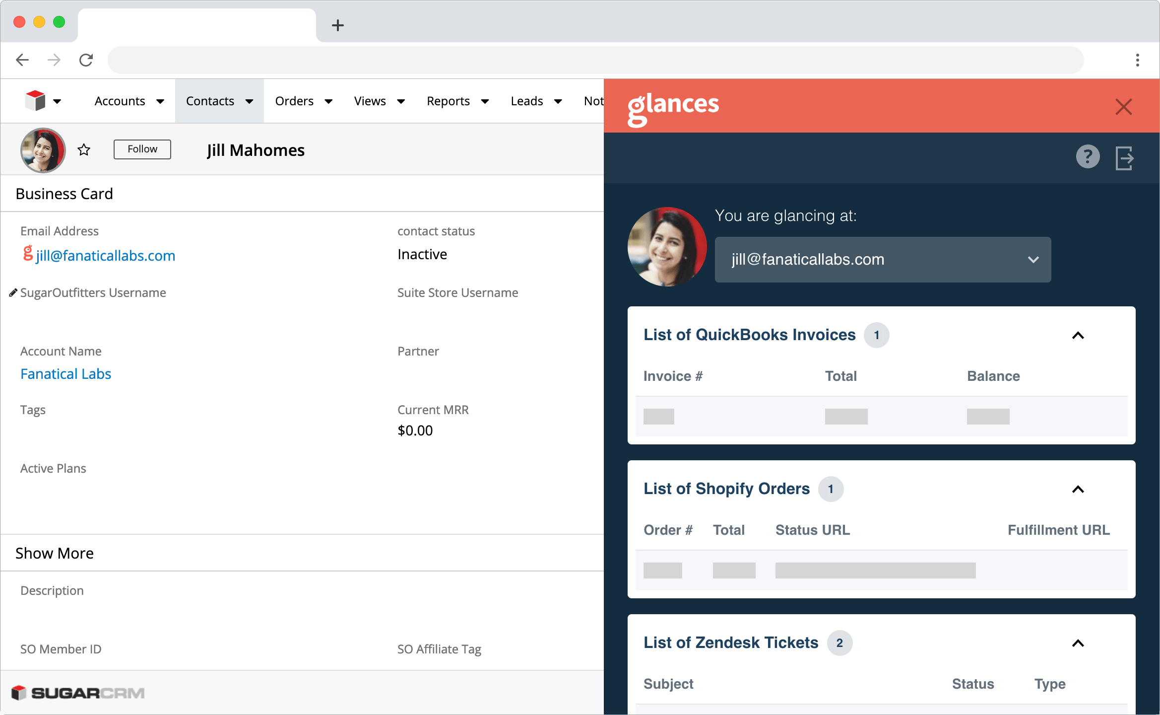Glances single customer view in SugarCRM