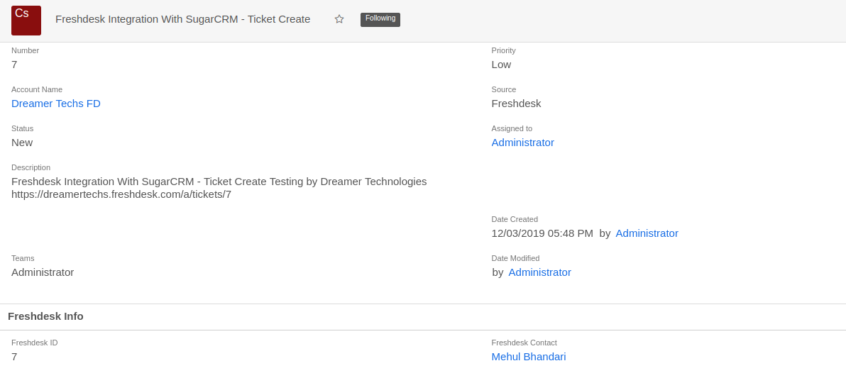 Create Sugar Case From Freshdesk Ticket
