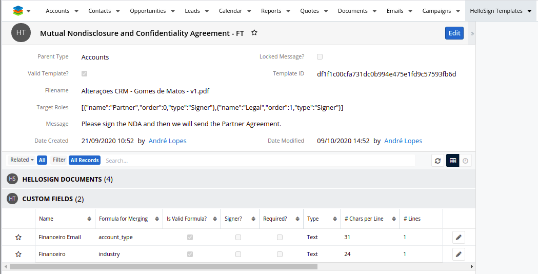 HelloSign add-on for SugarCRM Template