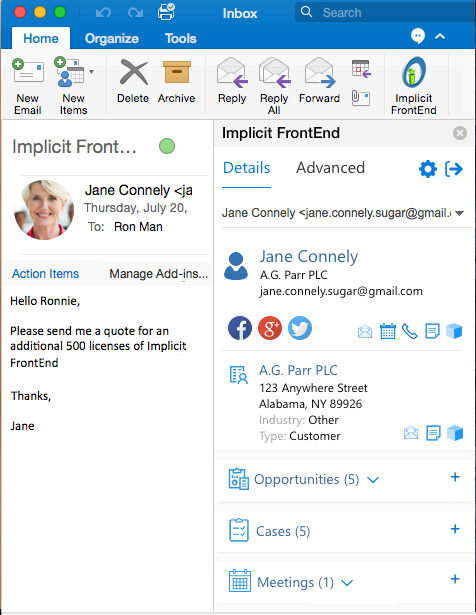 Outlook Plugin for Mac for SugarCRM