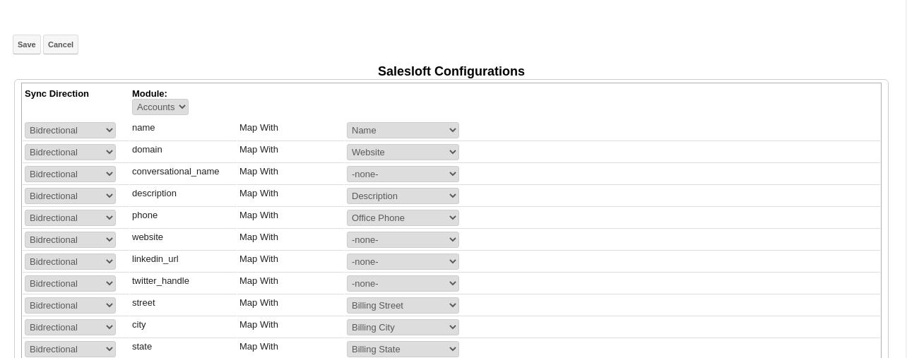 SalesLoft SugarCRM Integration Sync Configuration