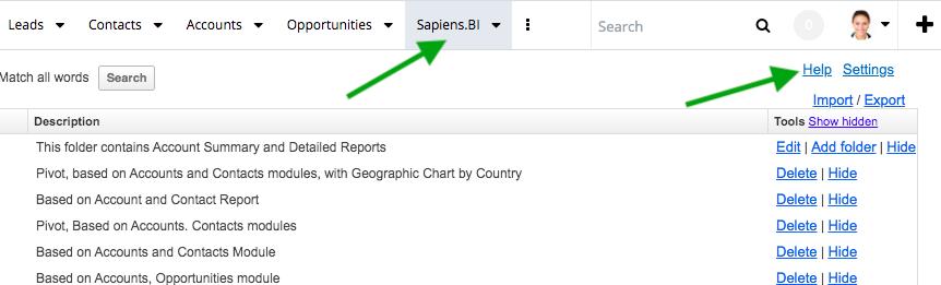 Sapiens.BI new menu and help feature