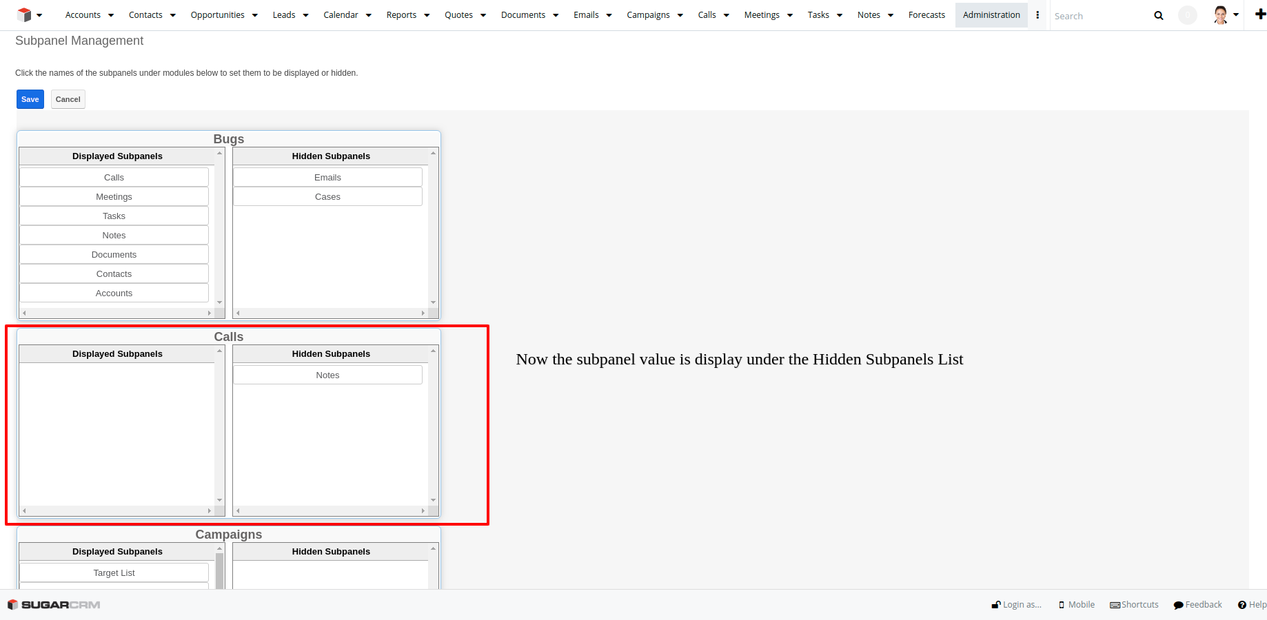 Subpanel Management add-on for SugarCRM hide subpanel