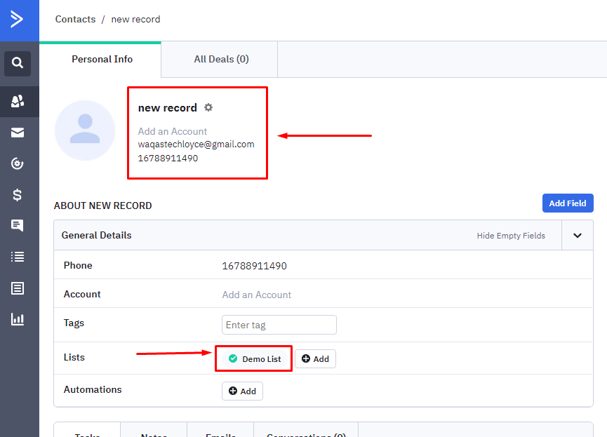 Synced records in ActiveCampaign