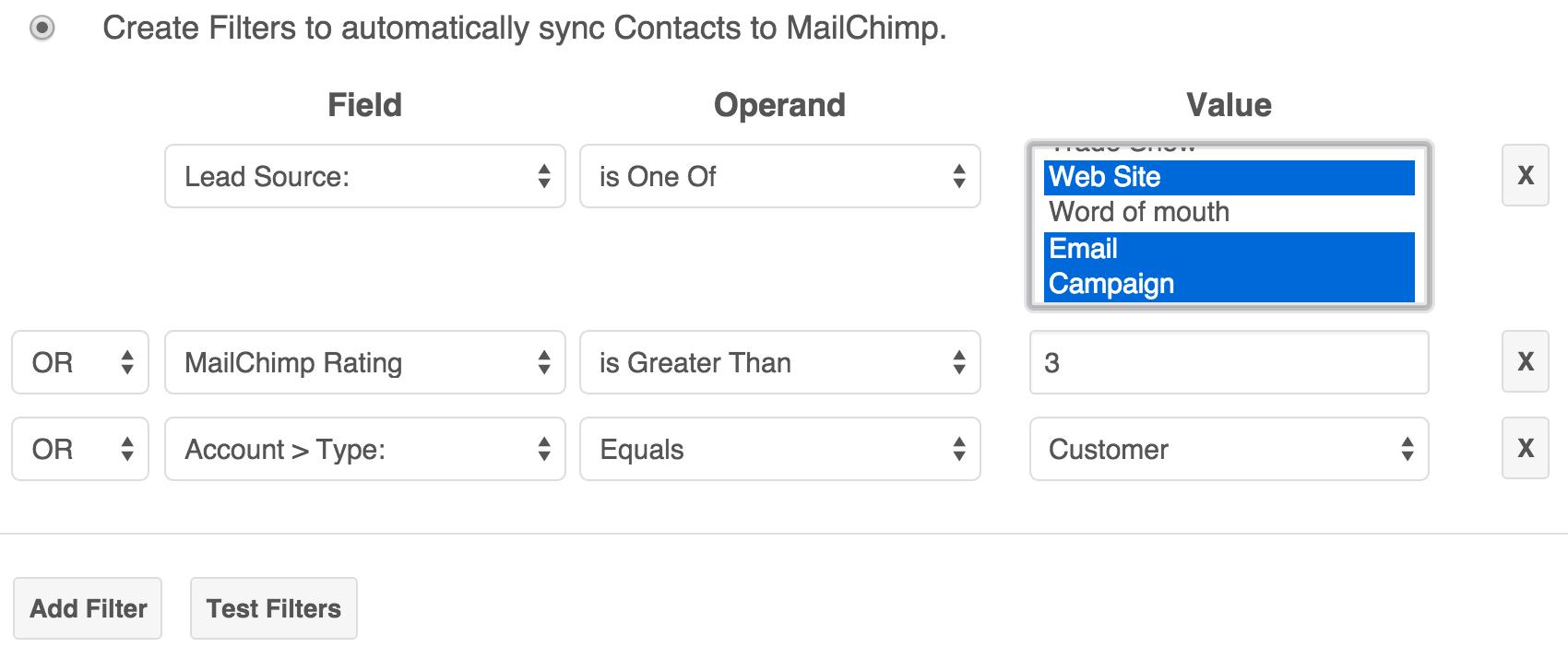 Sync using custom filters