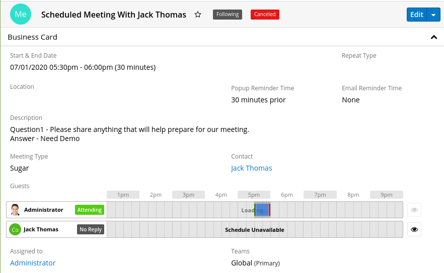 SugarCRM Calendly Integration cancelled meeting