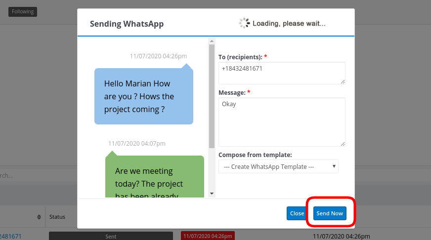 Sending single message in the SugarCRM WhatsApp Integration