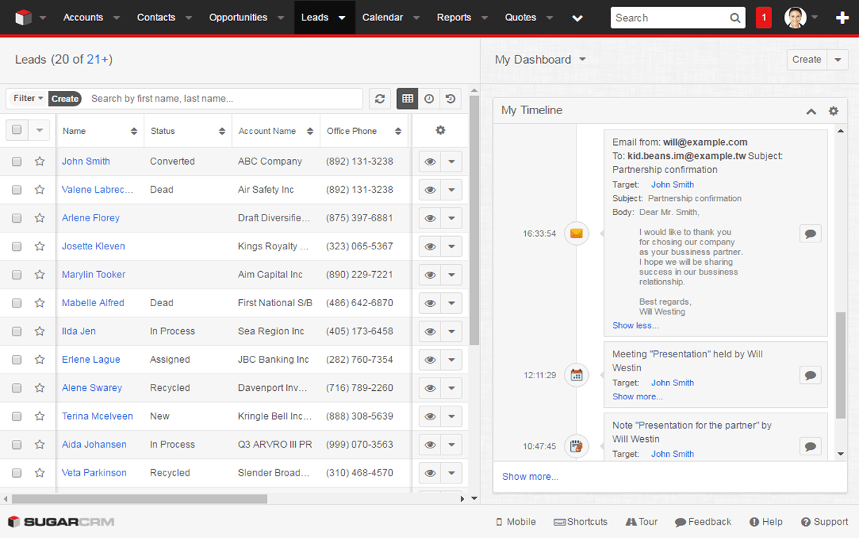 SugarCRM Event Universal View Options