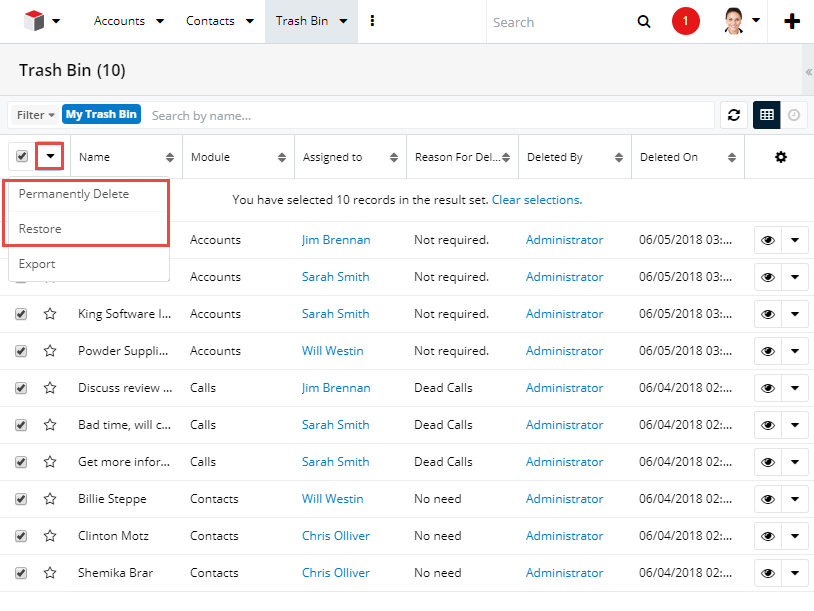 Restore or Permanently Delete Records from Trash Bin in SugarCRM
